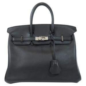 Hermes Black Swift Leather Palladium Hardware Birkin 25 Bag