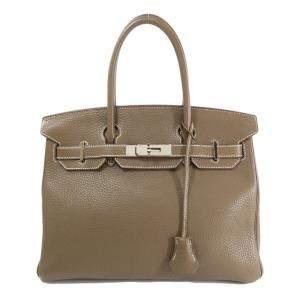Hermes Brown/Etoupe Taurillon Clemence Leather Palladium Hardware Birkin 30 Bag