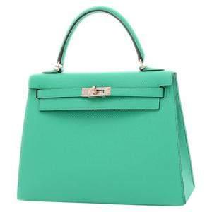 Hermes Green Epsom Leather Palladium Hardware Kelly 25 Bag