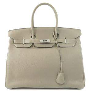 Hermes Grey Taurillon Clemence Leather Palladium Hardware Birkin 35 Bag