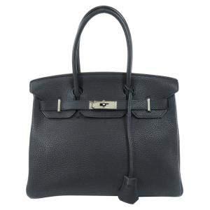 Hermes Black Taurillon Clemence Leather Palladium Hardware Birkin 30 Bag