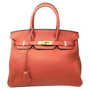Hermes Brown Leather Gold Hardware Birkin 30 Bag