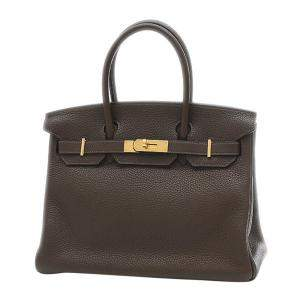 Hermes Dark Brown Taurillon Clemence Leather Gold Hardware Birkin 30 Bag