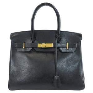 Hermes Black Ardennes Leather Gold Hardware Birkin 30 Bag