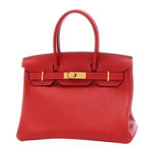 Hermes Red/Rouge Taurillon Clemence Leather Gold Hardware Birkin 30 Bag