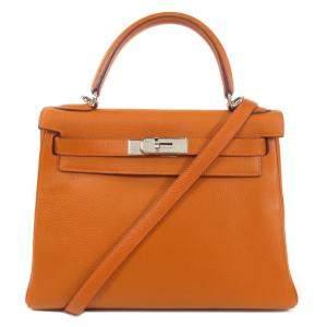 Hermes Orange Taurillon Clemence Leather Palladium Hardware Kelly 28 Bag