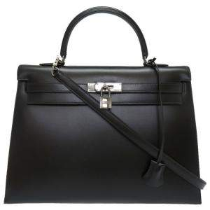 Hermes Black Box Calf Leather Palladium Hardware Kelly 35 Bag