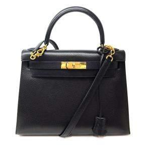 Hermes Black Ardennes Leather Gold Hardware Kelly 28 Bag