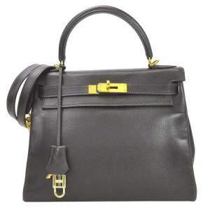 Hermes Brown Calf Leather Gold Hardware Kelly 28 Bag