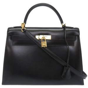 Hermes Black Box Calf Leather Gold Hardware Kelly 32 Bag