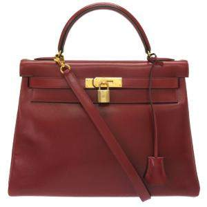 Hermes Red Calf Leather Gold Hardware Kelly 32 Bag