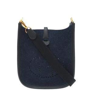 Hermes Blue Felt Leather Evelyne 16 TPM Amazon Shoulder Bag