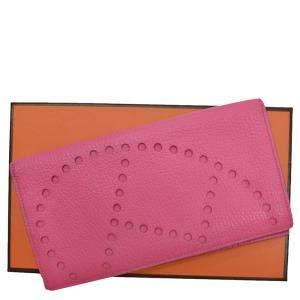 Hermes Pink Chevre Leather Evelyn Wallet