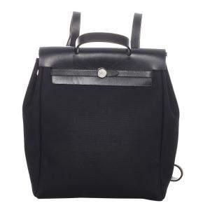 Hermes Black Canvas Fabric Herbag PM Backpack