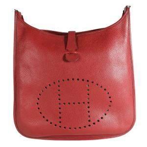 Hermes Rouge Clemence Leather Evelyne II Shoulder Bag