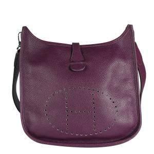 Hermes Purple/Raisin Clemence Leather Evelyne II Shoulder Bag