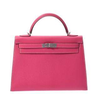 Hermes Pink Epsom Leather Palladium Hardware Kelly 32 Bag