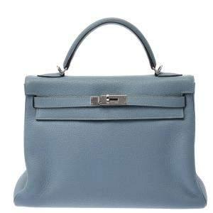 Hermes Blue Taurillon Clemence Leather Palladium Hardware Kelly 32 Bag