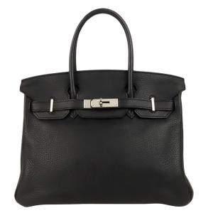 Hermes Black Clemence Leather Palladium Hardware Birkin 30 Bag