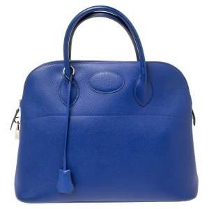 Hermes Blue Electric Epsom Leather Palladium Finish Bolide 35 Bag
