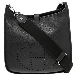 Hermes Black Clemence Leather Evelyne III GM Bag