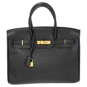 Hermes Black Togo Leather Gold Finish Birkin 35 Bag
