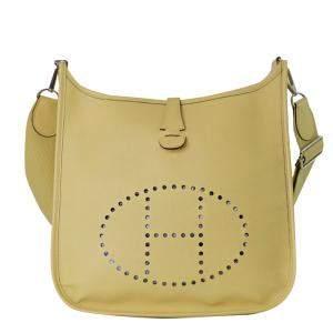 Hermes Yellow Leather Evelyne Shoulder Bag