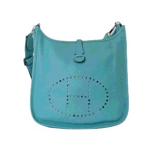 Hermes Blue Leather Evelyne Shoulder Bag