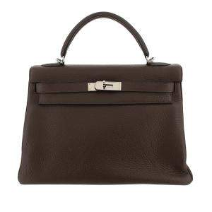 Hermes Brown Taurillon Clemence Leather Palladium Hardware Kelly Retourne 32 Bag