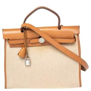 Hermes Natural/Toile Canvas and Leather Herbag Zip 31 Bag
