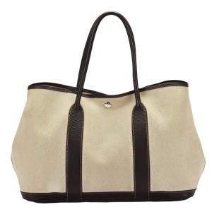 Hermes Brown Canvas Leather Garden Party PM Shoulder Bag