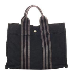 Hermes Black Canvas Fabric Fourre Tout PM Satchel Bag
