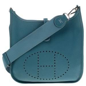 Hermes Bleu Lagon Togo Leather Evelyne III PM Bag