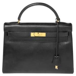 Hermes Black Ardenes Leather Gold Plated Kelly Retourne 32 Bag