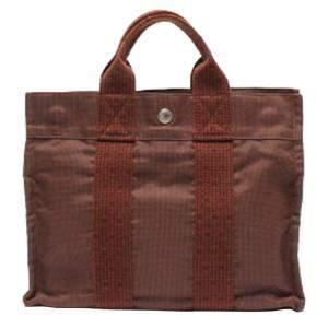 Hermes Brown Canvas Fabric Herline Tote PM Bag