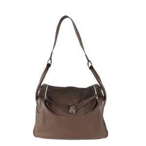 Hermes Brown Clemence Leather Lindy 34 Shoulder Bag
