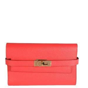Hermes Pink Epsom Leather Gold Hardware Kelly Depliant Medium Wallet