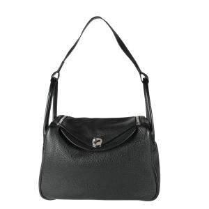 Hermes Black Clemence Leather Lindy 30 Shoulder Bag