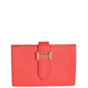 Hermes Pink Epsom Leather Bearn Compact Wallet