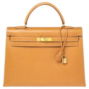 Hermes Naturale Ardenes Leather Gold Plated Kelly Sellier 35 Bag