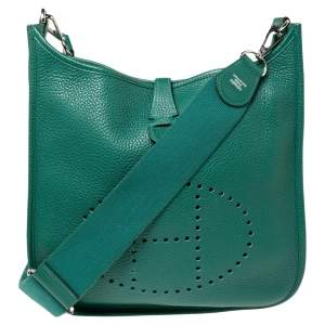 Hermes Menthe Clemence Leather Evelyne III PM Bag