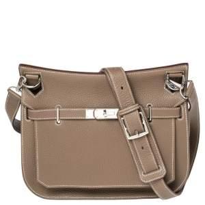 Hermes Etoupe Togo Leather Jypsiere 28 Bag