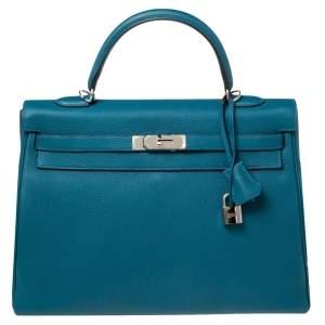 Hermes Cobalt Togo Leather Palladium Plated Kelly Retourne 35 Bag