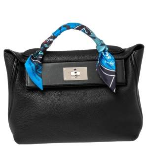 Hermes Black Togo and Swift Leather Palladium Plated 24/24 29 Bag