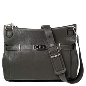 Hermes Ardoise Clemence Leather Palladium Plated Jypsiere 37 Bag