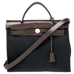 Hermes Black/Cacao Canvas and Leather Herbag Zip 31 Bag