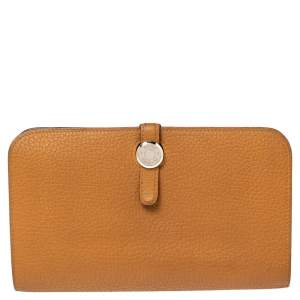 Hermes Gold Clemence Leather Dogon Wallet