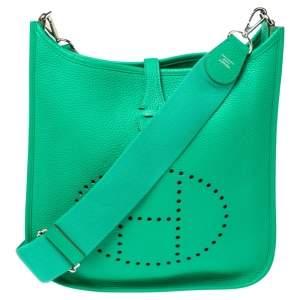 Hermes Bamboo Clemence Leather Evelyne III PM Bag