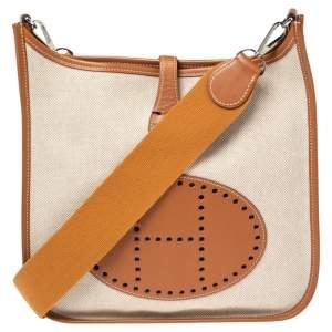 Hermes Beige/Gold Canvas and Swift Leather Evelyne I PM Bag