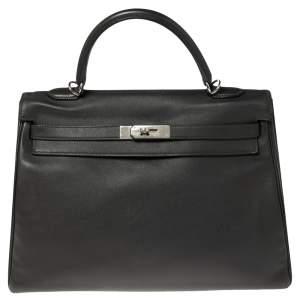 Hermes Ardoise Evercolor Leather Palladium Finished Kelly Retourne 35 Bag